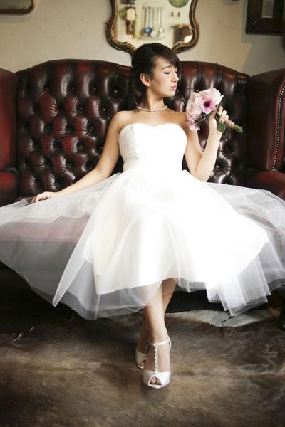 チュールウエディングドレス
